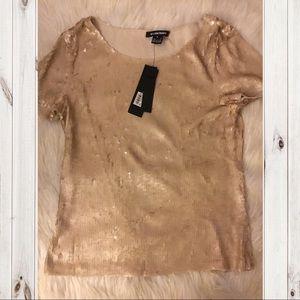 NWT Ellen Tracy Gold Sequin T Shirt
